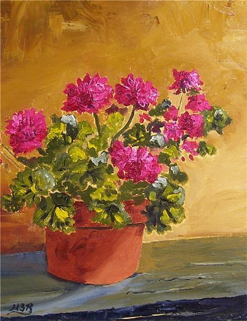 Floral Painting - Pink Geranium On Ledge by Maria Soto Robbins