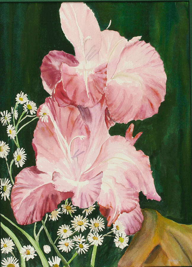Glads Painting - Pink Glad by Judy Loper
