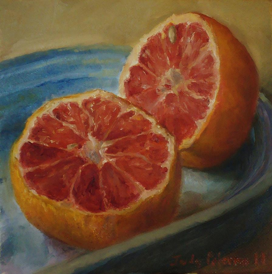 Fruit Painting - Pink Grapefruit On Blue Vintage Platter by Judy Palermo