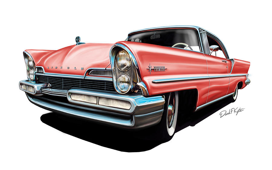 Pink Digital Art - Pink Lincoln Premier  by David Kyte