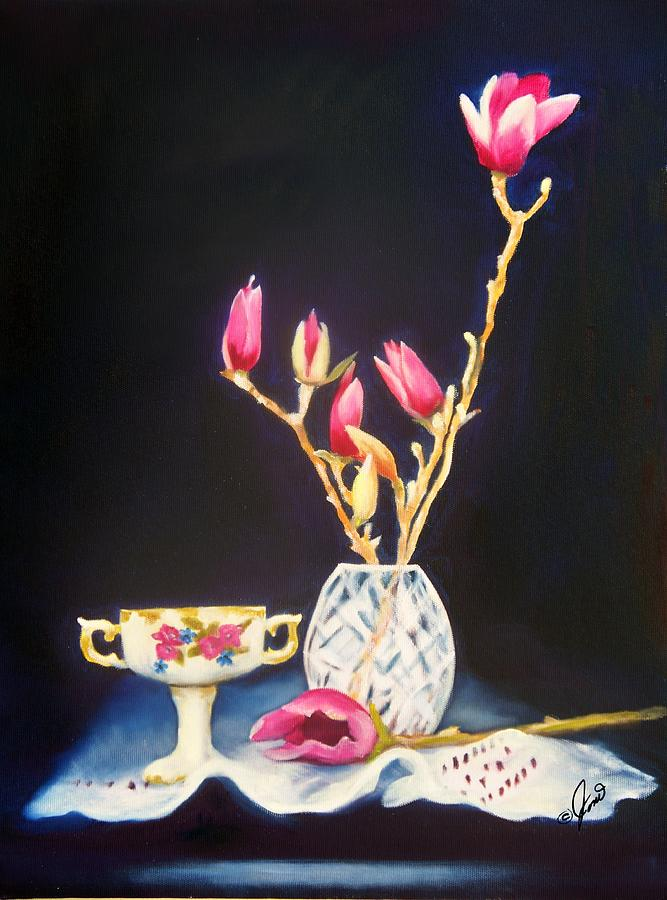 Floral Painting - Pink Magnolias by Joni McPherson
