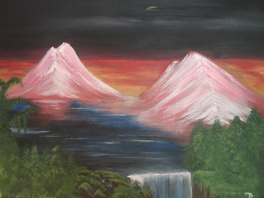 Mountain Painting - Pink Mountains by Melanie Blankenship