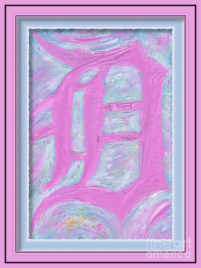 Baseball Painting - Pink Old English D Framed by Donald Pavlica