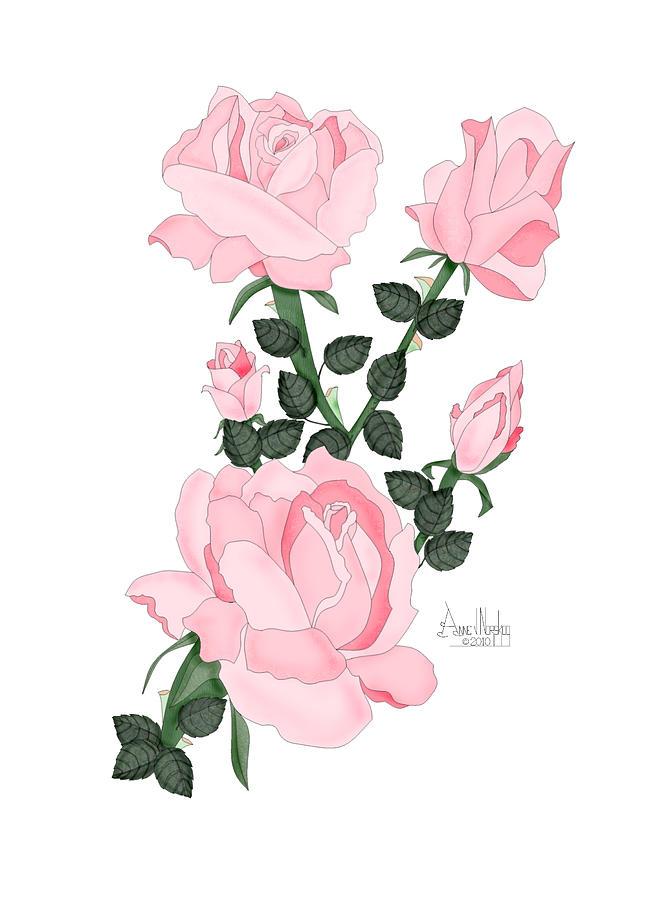 Pink Roses Digital Art - Pink Roses on a Friday Morning by Anne V Norskog