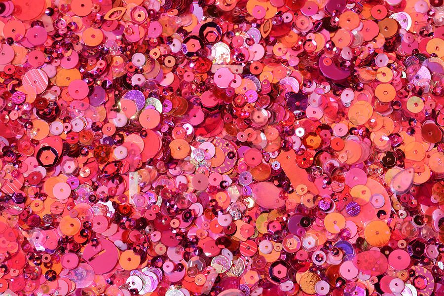 Horizontal Photograph - Pink Sequins Of Various Shapes And Sizes by Andrew Paterson