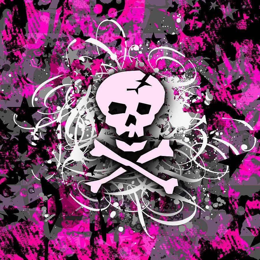 Pink Skull Splatter Digital Art By Roseanne Jones
