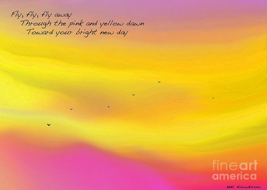 Abstract Digital Art - Pink Sky Flight Haiku by ME Kozdron