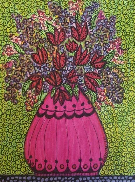 Flowers Drawing - Pink Vase Red Tulips by Gerri Rowan