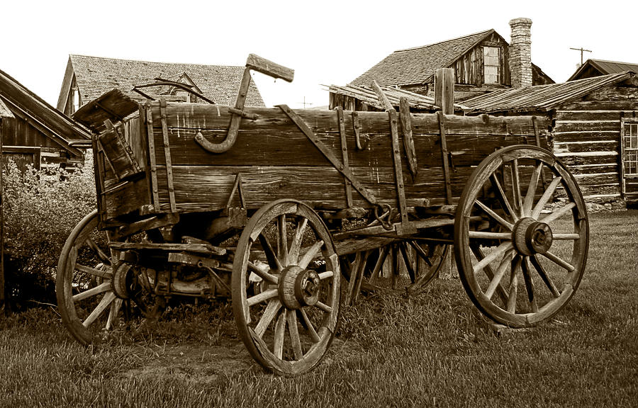 Wagon Photograph - Pioneer Freight Wagon - Nevada City Ghost Town by Daniel Hagerman