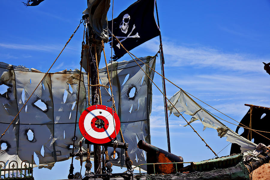 Canons Photograph - Pirate Ship With Target by Garry Gay