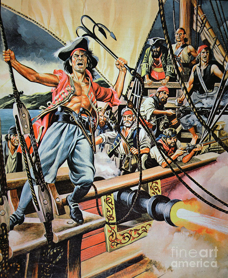 American School Painting - Pirates Preparing To Board A Victim Vessel  by American School