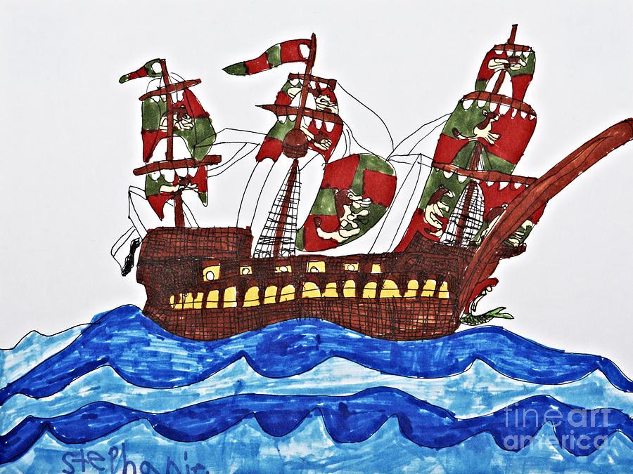 Pirate Drawing - Pirates Ship by Stephanie Ward