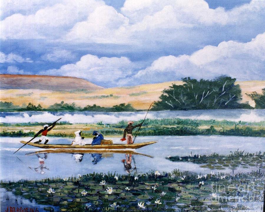 Niger River Painting - Pirogue Du Fleuve by Jean Pierre Bergoeing