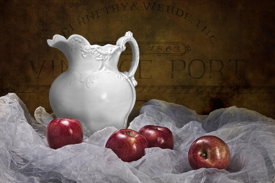 Apple Photograph - Pitcher With Apples Still Life by Tom Mc Nemar