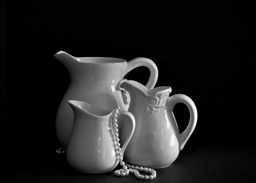 Still Life Photograph - Pitchers By The Window In Black And White by Sherry Hallemeier