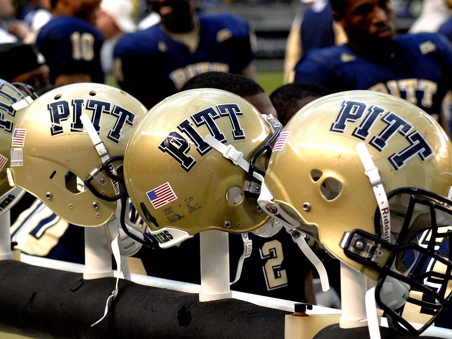 Pitt Photograph - Pitt Helmets Awaiting Action by Will Babin