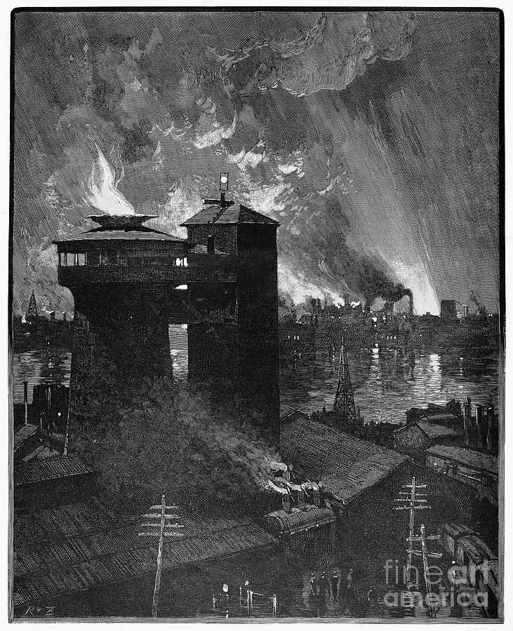 1885 Photograph - Pittsburgh: Blast Furnaces by Granger