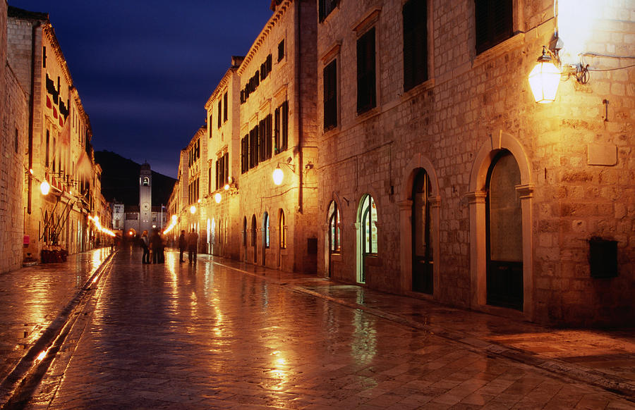 Horizontal Photograph - Placa At Twilight, Dubrovnik, Croatia by Lonely Planet