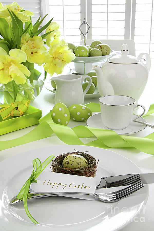 Anniversary Photograph - Place Setting With Card For Easter Brunch by Sandra Cunningham