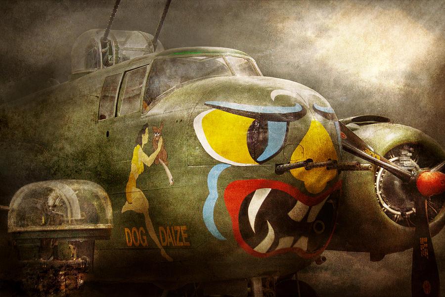 Pilot Photograph - Plane - Pilot - Airforce - Dog Daize by Mike Savad