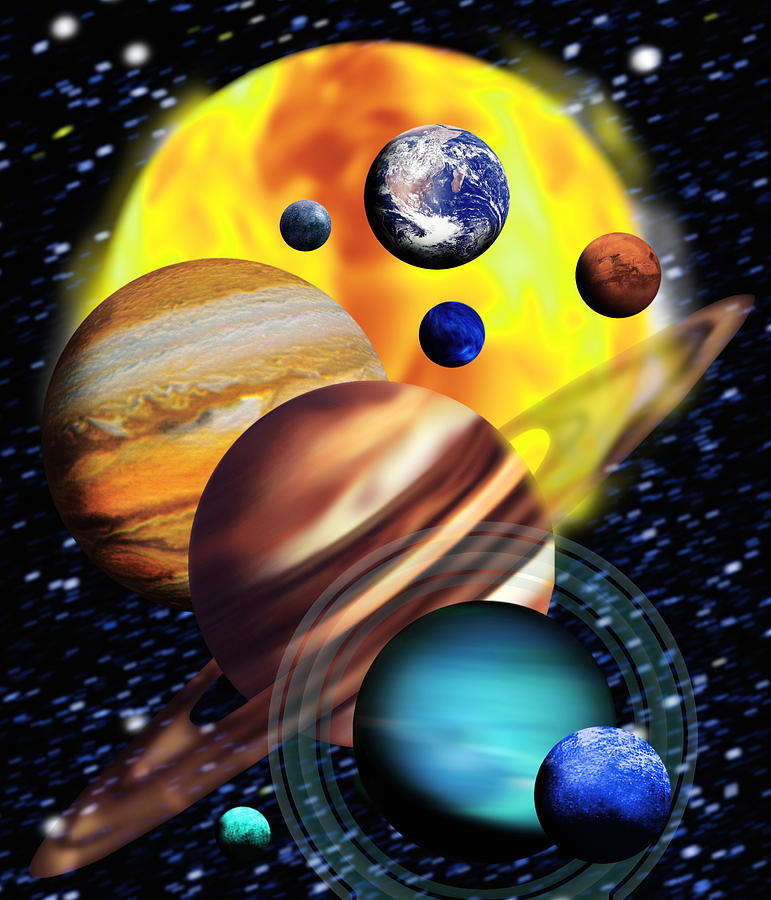 Solar System Photograph - Planets & Their Relative Sizes by Victor Habbick Visions