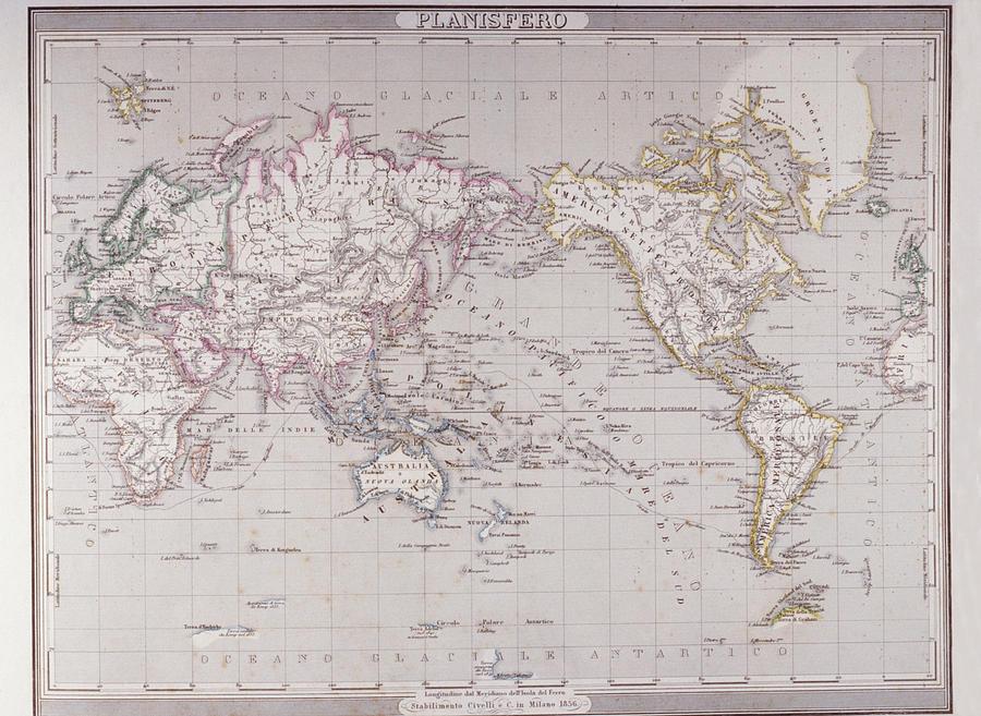Horizontal Digital Art - Planispheric Map Of The World by Fototeca Storica Nazionale