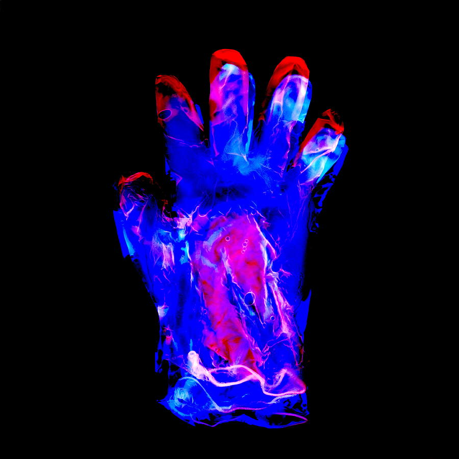 Glove Photograph - Plastic Glove, Negative Image by Kevin Curtis