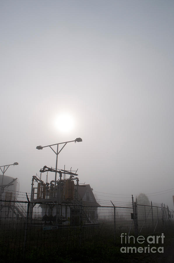 Industrial Photograph - Platform At Petrocor In The Fog by Gary Chapple