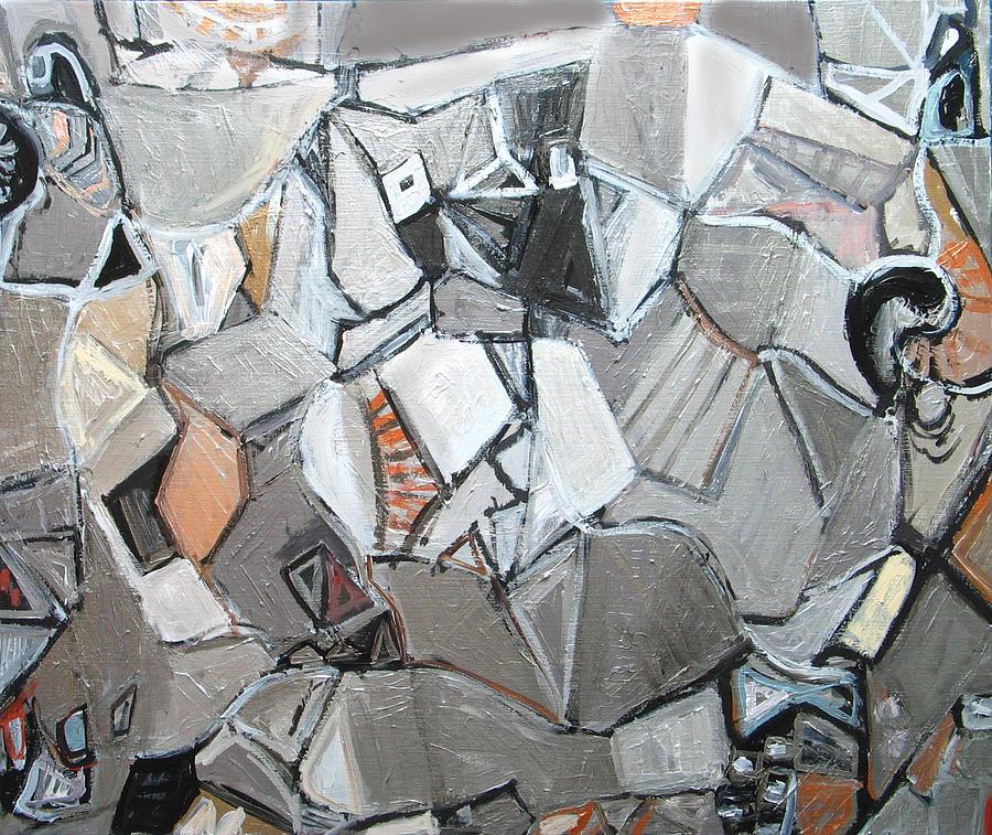 Abstract Cubism Painting - Platos Metallic Symposium by Kazuya Akimoto