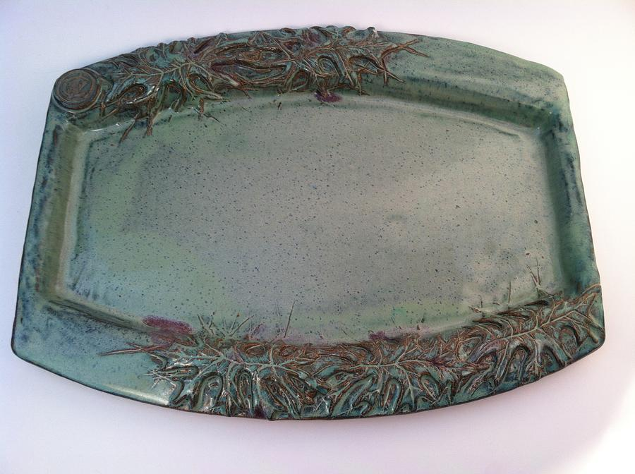 Hand Made Ceramic Art - Platter With Pin Oak Leaves by Carolyn Coffey Wallace