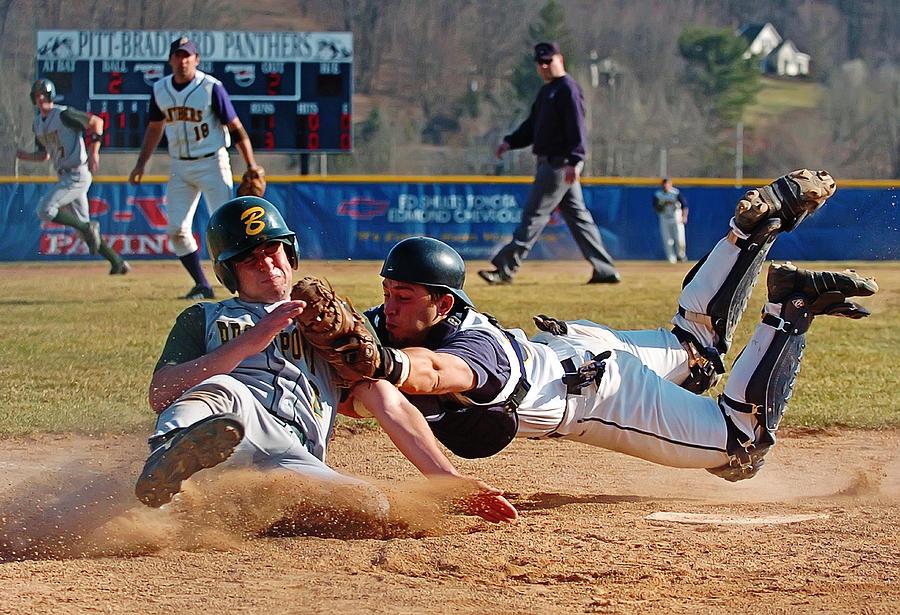 Baseball Photograph - Play At The Plate by Wade Aiken