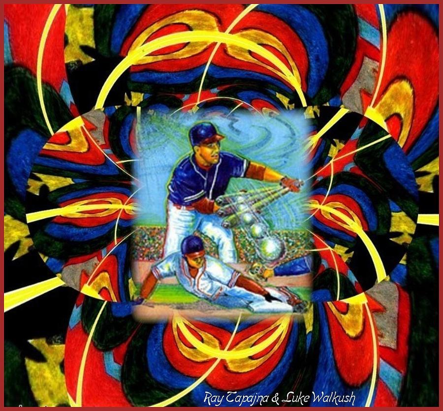 Baseball Mixed Media - Play Ball  Getting On Base by Ray Tapajna