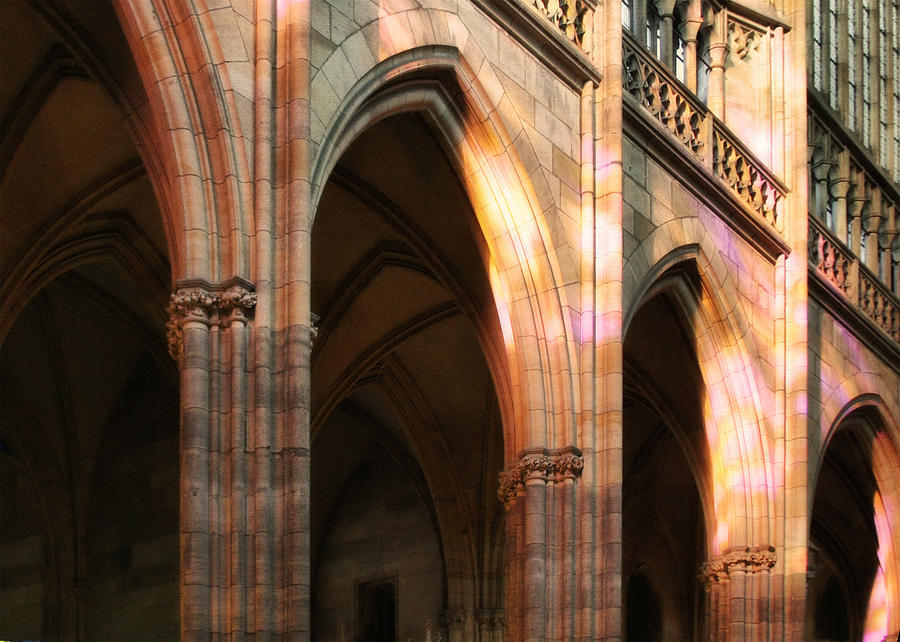 Cathedrals Photograph - Play Of Light And Shadow - Saint Vitus Cathedral Prague Castle by Christine Till
