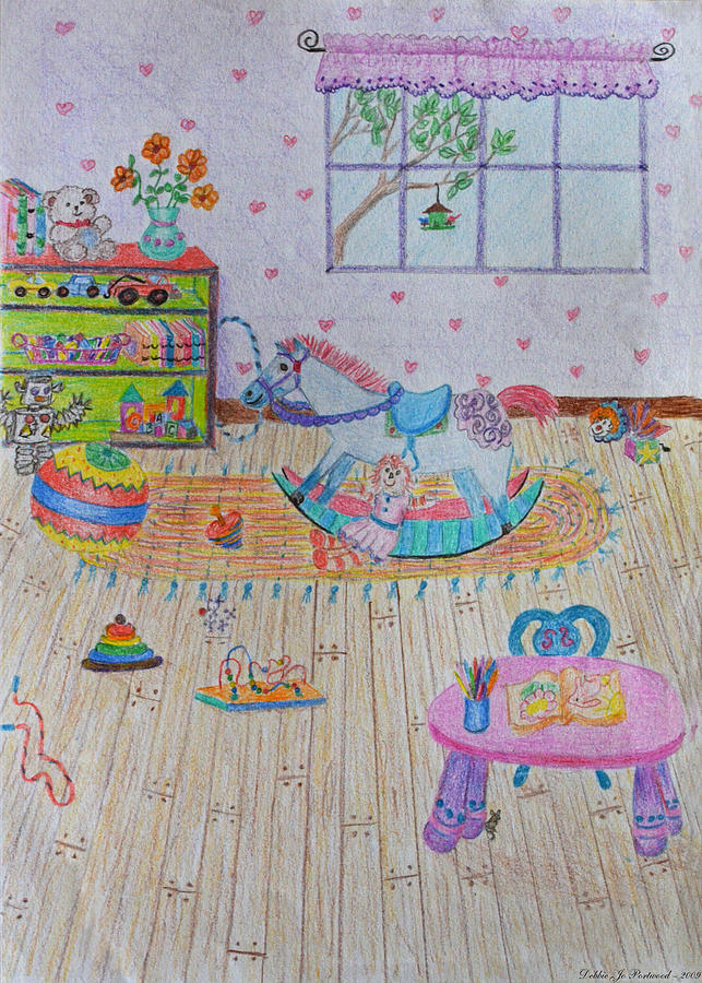 Room Drawing Pencil: Play Room Drawing By Debbie Portwood