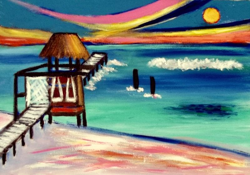Playa Sol Sunset Painting by Ted Hebbler