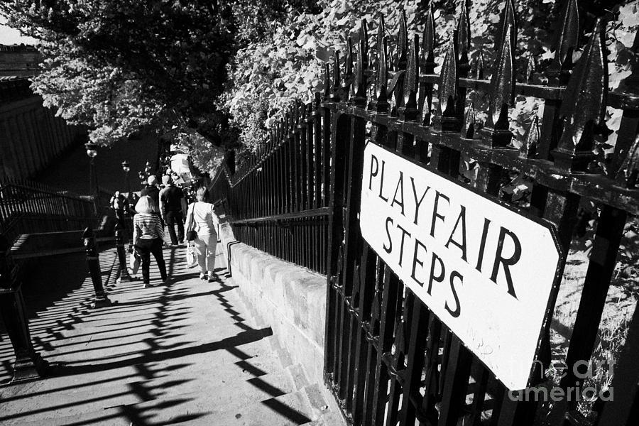 Princes Photograph - Playfair Steps Down Into Princes Street Gardens Edinburgh Scotland Uk United Kingdom by Joe Fox