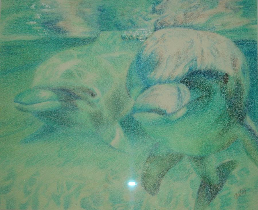 Dolphin Drawing - Playful by Joanna Gates