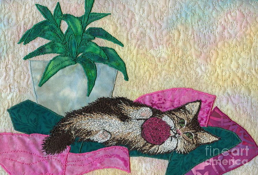 Cat Tapestry - Textile - Playful Mischief  by Denise Hoag