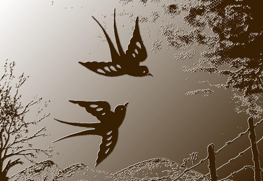 Swallow Digitalart Painting - Playful Swalows Digital Art by Georgeta  Blanaru