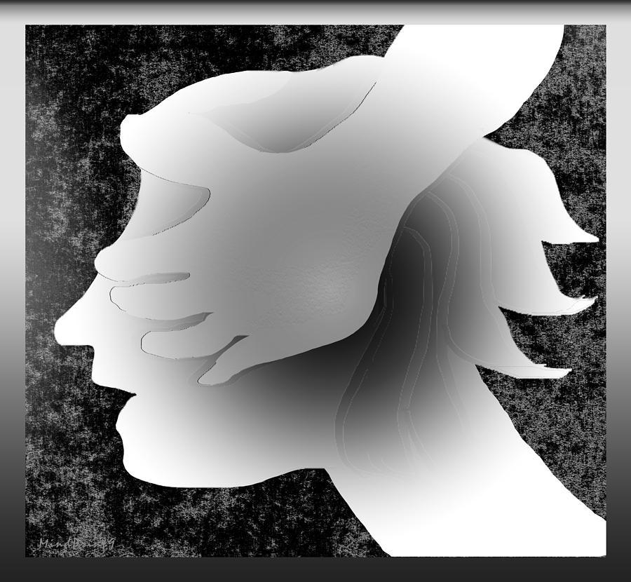 Girl Digital Art - Playing Blindfold by Asok Mukhopadhyay