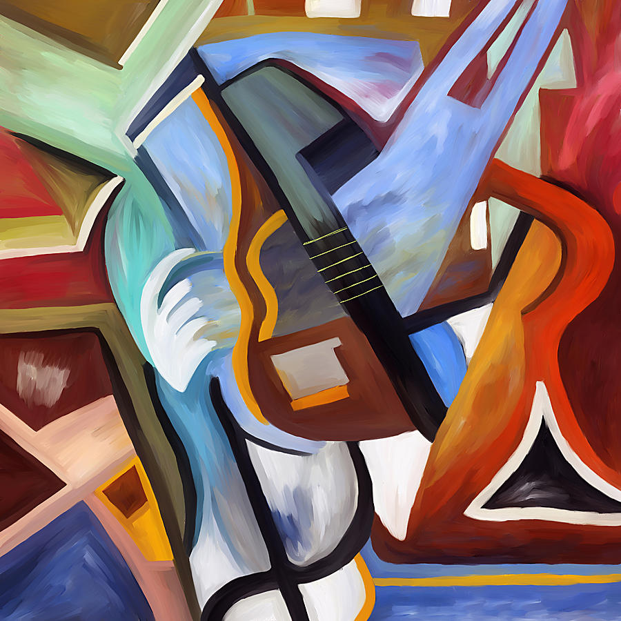 Abstract Painting - Playing Guitar by Amarok A