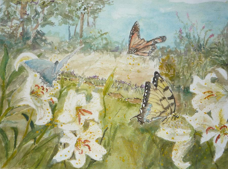 Butterfly Painting - Playing In The Garden by Dorothy Herron
