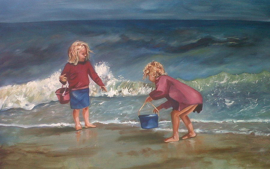 Seashore Painting - Playtime At The Beach by Elani Van der Merwe