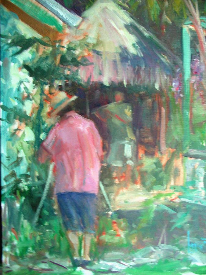 Plein Air Painting - Plein Air At The Cabana by Berto Ortega
