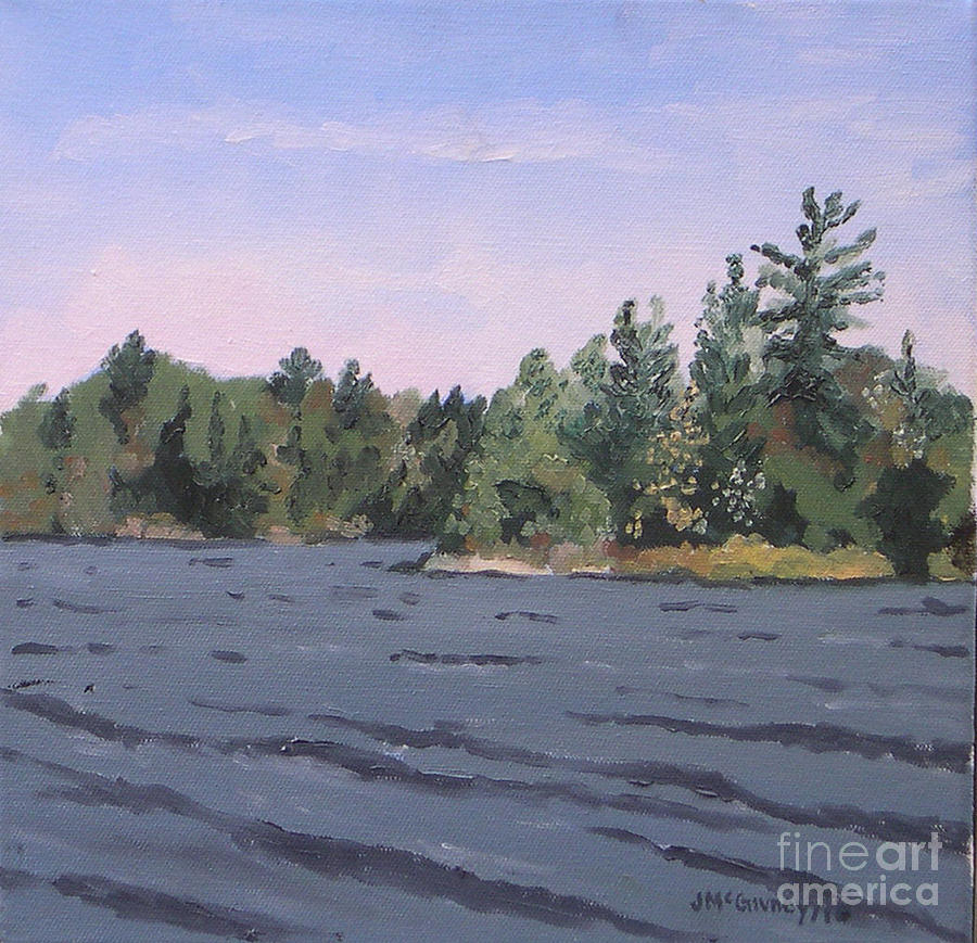 Summer Landscapes Painting - Plein Air Head Lake by Joan McGivney