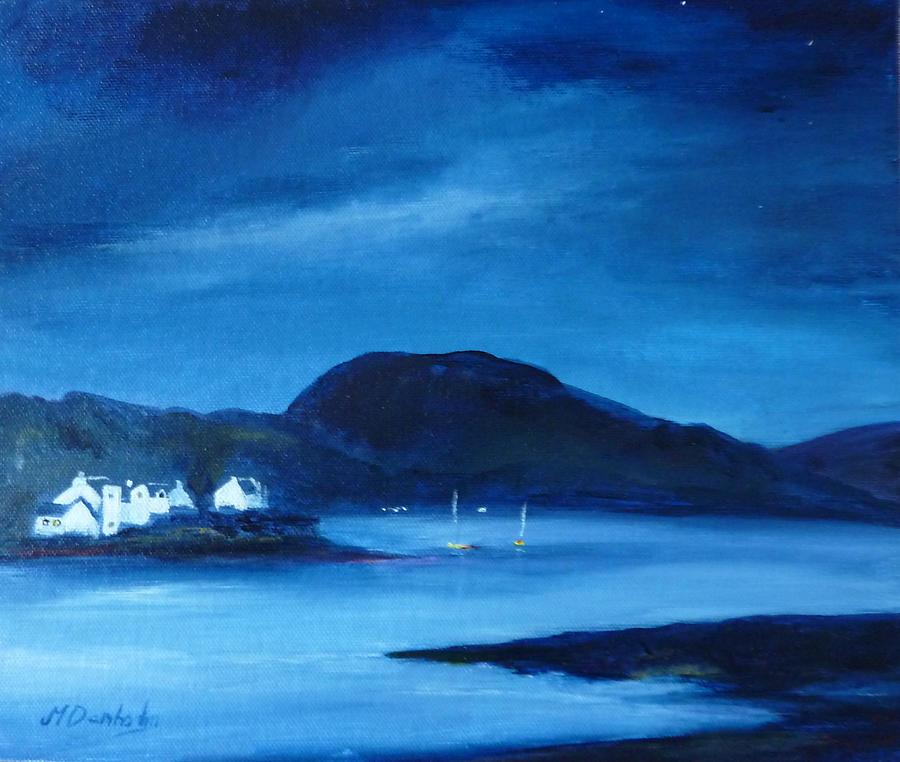 Night Sky Painting - Plockton by Margaret Denholm