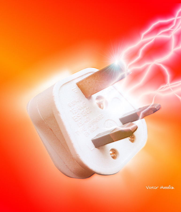 Plug Photograph - Plug With Electric Current by Victor Habbick Visions