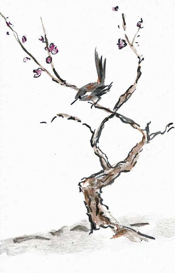 Buddha-nature Painting - Plum Blossoms by Ellen Miffitt
