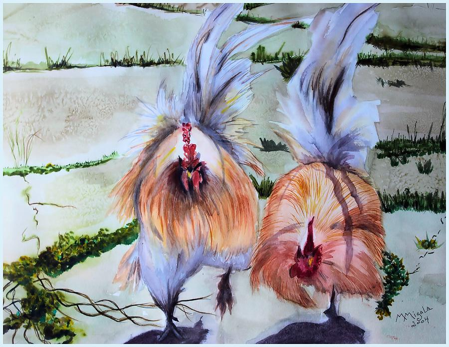 Chicken Painting - Plump Chickens by Myrna Migala