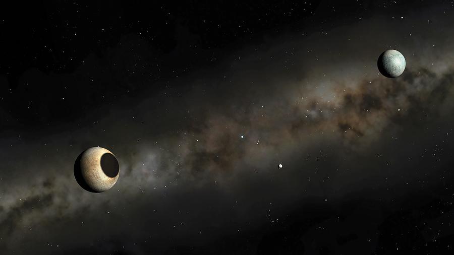 Horizontal Digital Art - Pluto And Charon Artwork by Mark Garlick